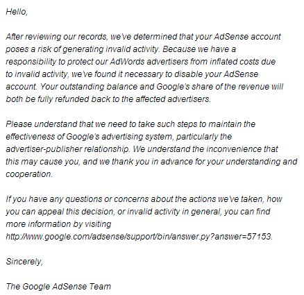 google-adsense-rejection-letter