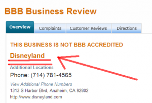 Disneyland not BBB accredited