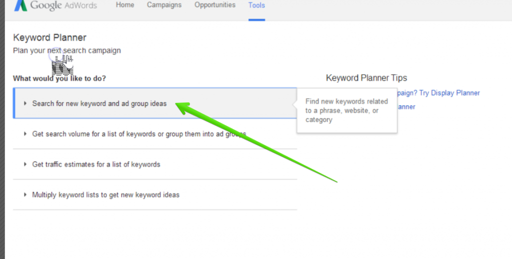 google keyword planner first step