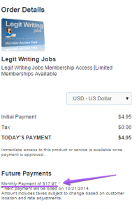 legit writing jobs price