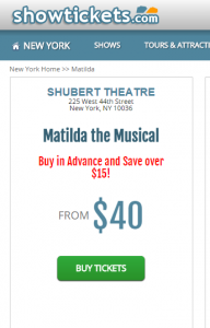 showtickets matilda discount
