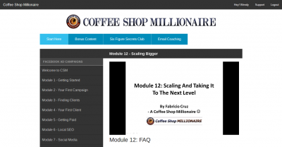 coffee shop millionaire members area
