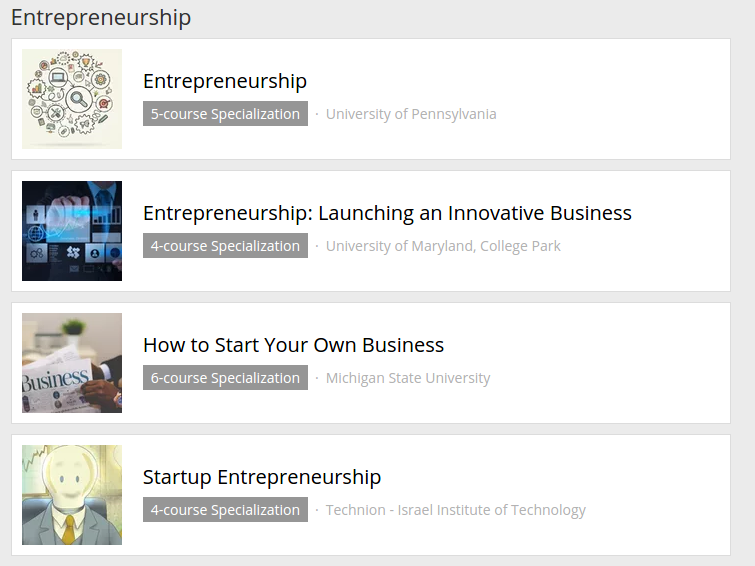 coursera entrepreneurship specialization