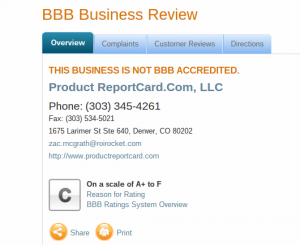 product report card bbb