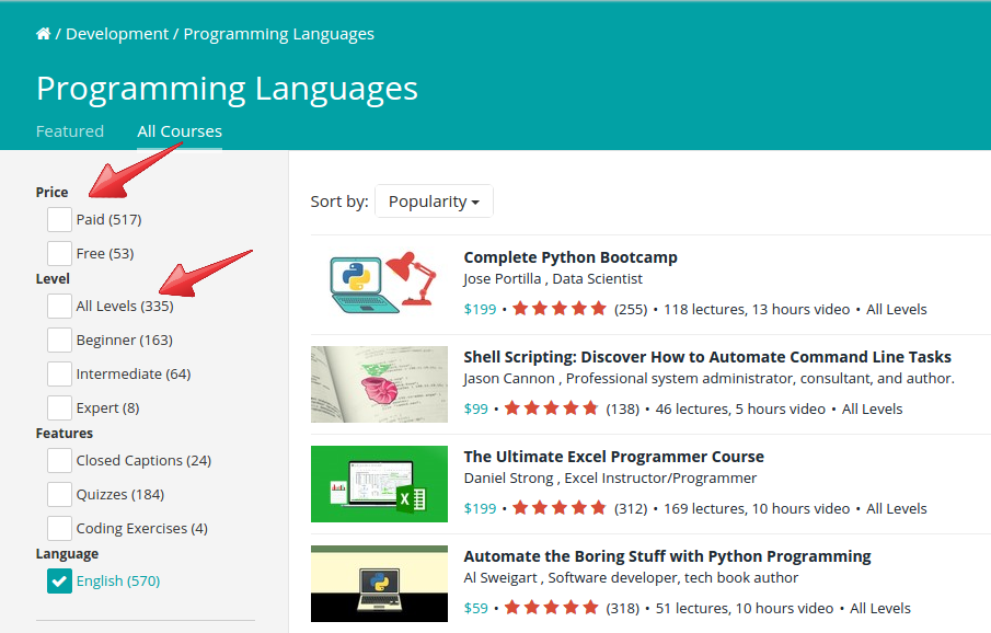 udemy course search feature