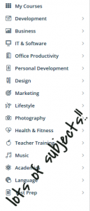 udemy course subjects