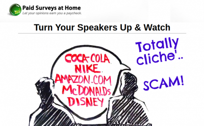 paid surveys at home sales video scam