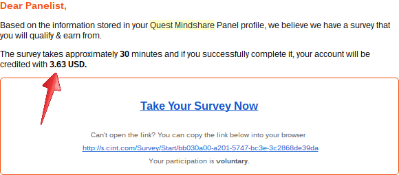 quest mindshare survey payment
