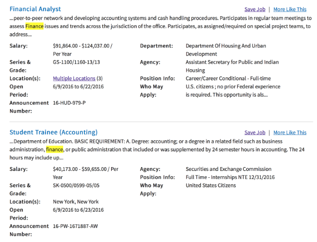 usajobs sample job postings