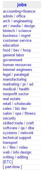 craigslist job categories